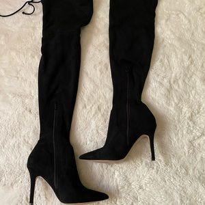 Aldo Over The Knee Pull On Black Boots Heels sz 8
